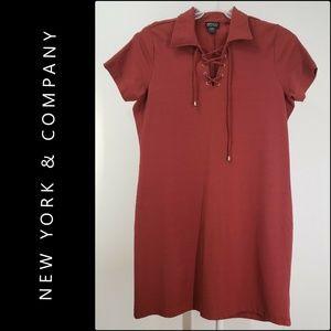 New York & Company Woman Shift Dress XL Maroon